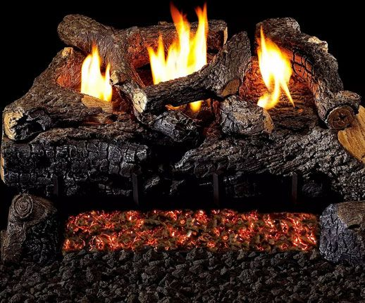Ventless Evening Fyre Charred Indoor Stove Gas Log
