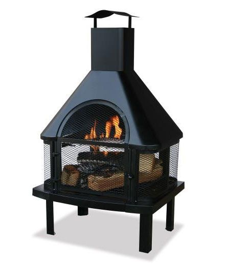 UniFlame WAF1013C Uniflame 45 Inch Outdoor Fireplace with Chimney