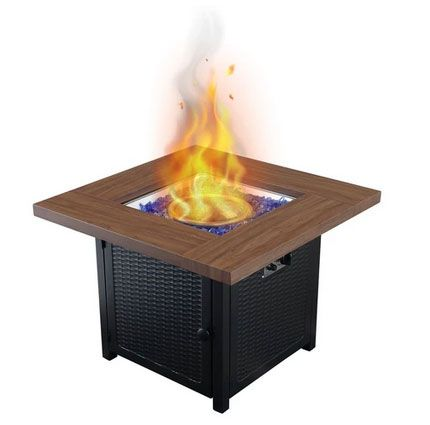 PHI VILLA Wood-like Metal Steel Gas Fire Pit Table with Cover
