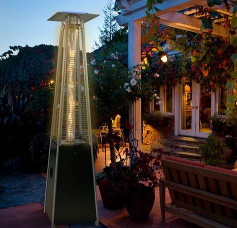 42000 BTU Black Pyramid Outdoor Propane Patio Heater with Wheels, Glass Tube Flame, Quick Start Ignition