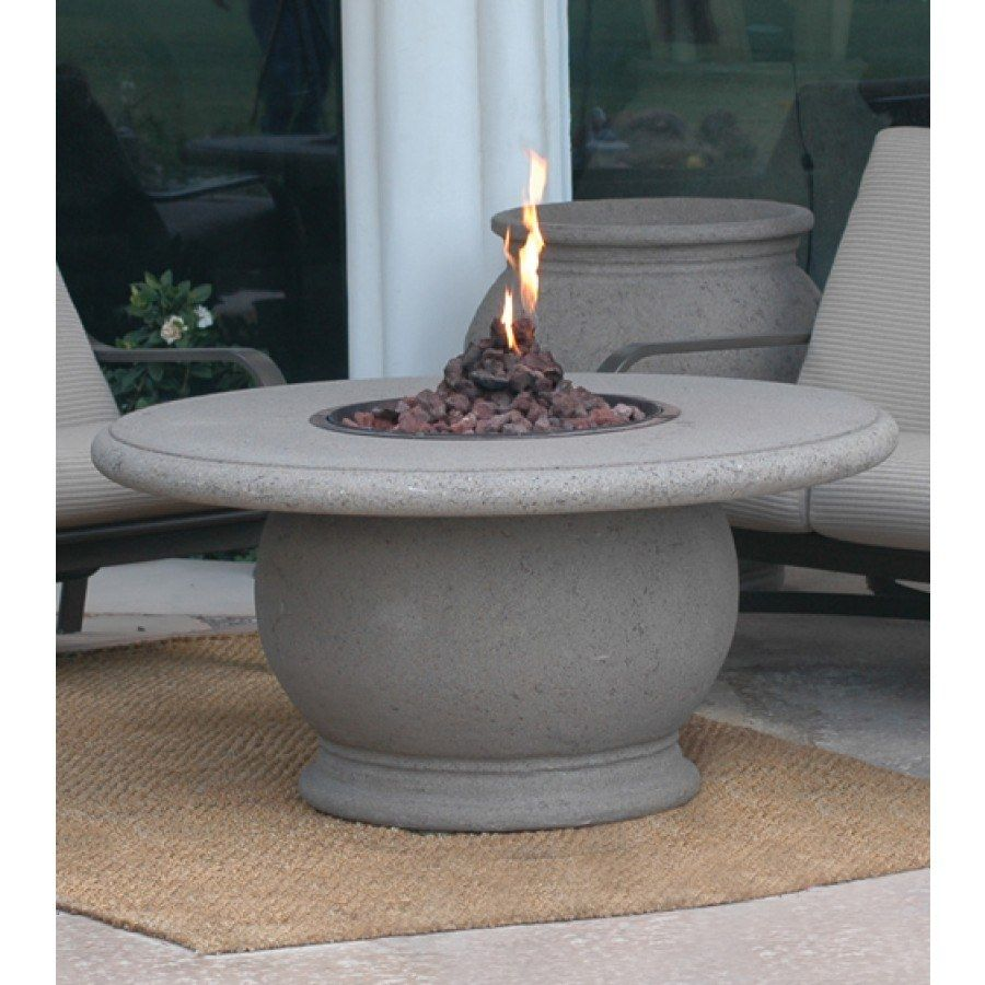 Amphora Round Chat Height Firetable with Concrete Top