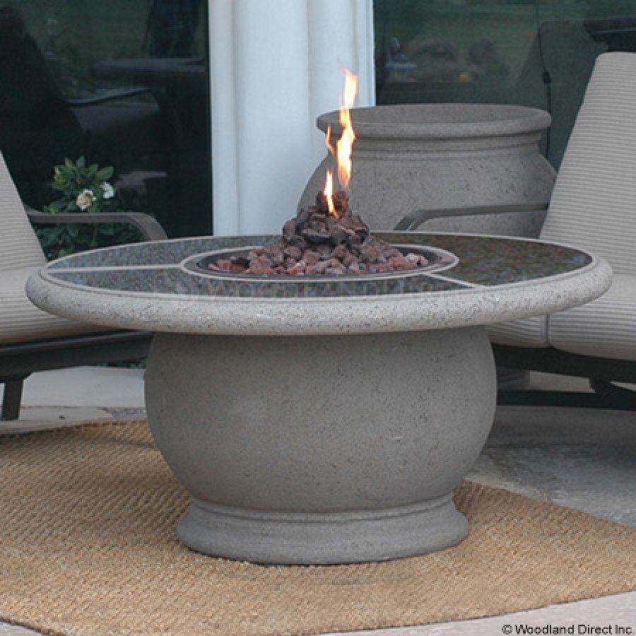 Amphora Round Fire Pit Table with Granite Top