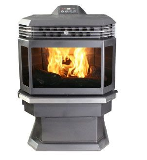 US Stove 5660 Bay Front Pellet Stove, Black